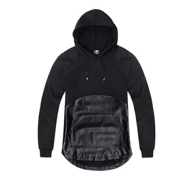 Black Hoodie Leather Detail