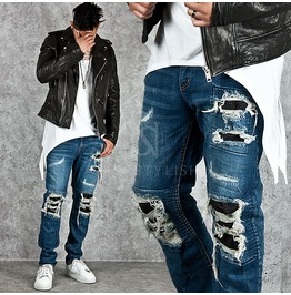 Distressed Pintuck Accent Slim Denim Jeans 224