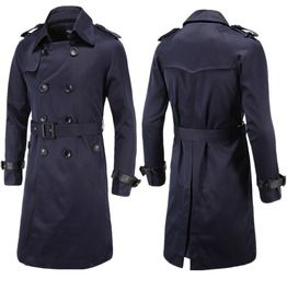 Men's Turn Down Collar Double Breasted Slim Fitted Maix Windcoat