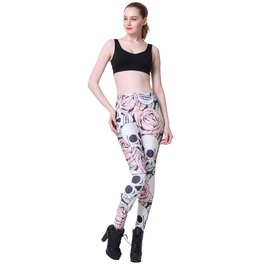 Digital Leggings Lady Pants Skull Wearing A Flower Stretchy Pants