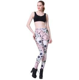 Digital Leggings Lady Pants Skull Wearing A Flower Stretchy Pants