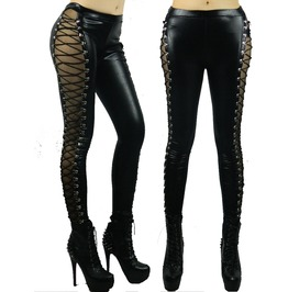 New Women Lady Black Faux Leather Sexy Straps Lack Patchwork Legging