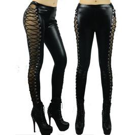 New Women Lady Black Faux Leather Sexy Straps Lack Patchwork Legging