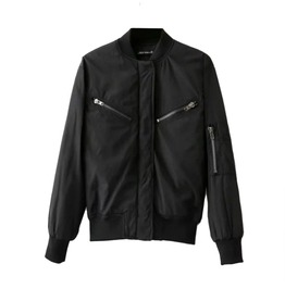 Black Bomber Jacket With Zippers