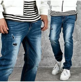 Cool Washing Distressed Basic Blue Denim Jeans 225