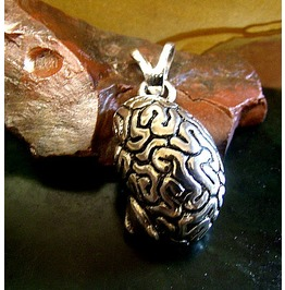A Brain Pendant In Sterling Silver