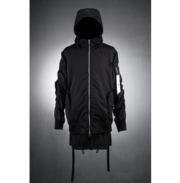Long Shurring Beltied Hood Flight Jacket