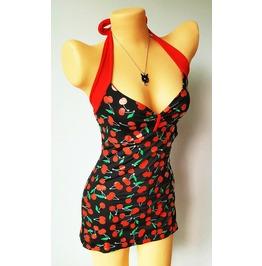 Mysterycat Women Vintage Tetro Swimsuit Swimwear Black Cherry Size M L Xl