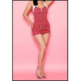 Mysterycat Swimsuit Swimwear Red Polka Dot Retro Summer Vintage Pin Women