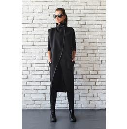 Loose Neoprene Coat/Extravagant Sleeveless Jacket/Plus Size Long Tunic