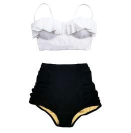Women White Top Black Retro High Waist Bottom Swimsuit Midkini Size M L Xl