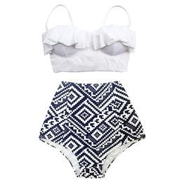 Mysterycat Women White Top Blue Graphic High Waist Bottom Swimsuit Midkini