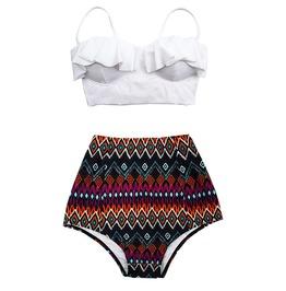 Mysterycat Women Vintage Swimwear White Top Tribal Red Bottom Swimsuit New