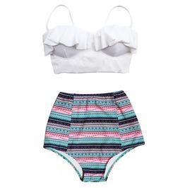 Mysterycat Women White Top Black Blue Graphic Waist Bottom Swimsuit Midkini