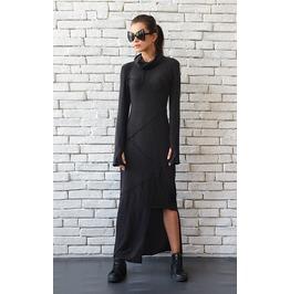 Dark Grey Asymmetric Dress/Thumb Hole Sleeve Tunic/Turtle Neck Dress