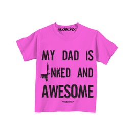 Kid's My Dad Is Inked And Awesome Pink Tee