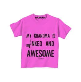 Kid's My Grandma Is Inked And Awesome Pink Tee