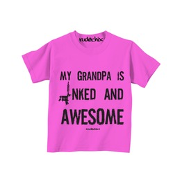 Kid's My Grandpa Is Inked And Awesome Pink Tee