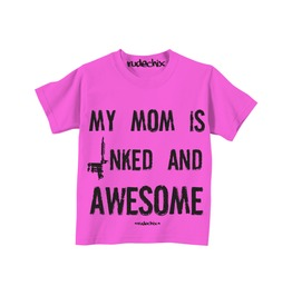 Kid's My Mom Is Inked And Awesome Pink Tee