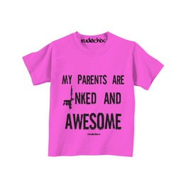 Kid's My Parents Are Inked And Awesome Pink Tee