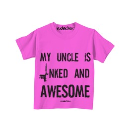 Kid's My Uncle Is Inked And Awesome Pink Tee