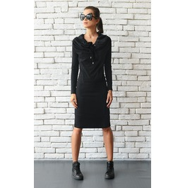 Casual Black Dress/Knee Length Dress/Long Sleeve Black Tunic/Loose Collar