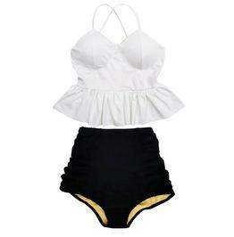 Mysterycat Women White Top Black High Waist Bottom Swimsuit Swimwear