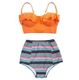 Women Orange Top Blue Tribal High Waist Bottom Swimsuit Midkini Swimwear