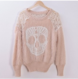 New Winter Sweater Ladies Fashion Hollow Skull Round Neck Sweater Sets