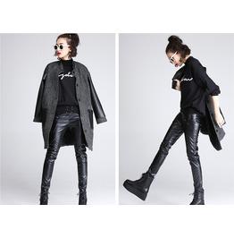 Winter Beaded Leather Pants Plus Velvet Leggings Pencil Pants Skinny Pants