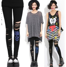 New Casual Leggings Fashion Personality Skull Split Super Elastic Leggings