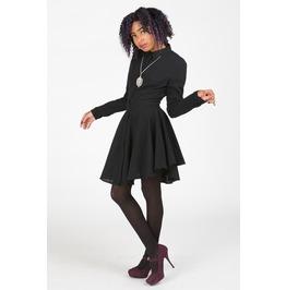 Flounced Skirt Black Shirtdress