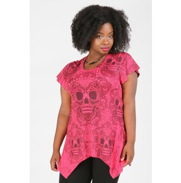 Death Becomes Her Plus Size Pink Skull Top