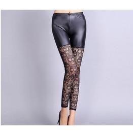 Skull Lace Stitching Leather High Elastic Xl Women Leggings