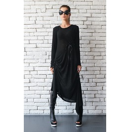 Black Maxi Dress/Oversize Long Tunic/Extravagant Black Kaftan/Plus Size Top