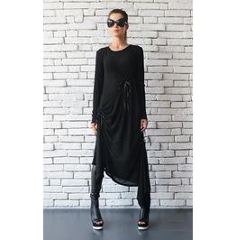 Black Maxi Dress/Oversize Long Tunic/Extravagant Black Kaftan/Plus Size Top
