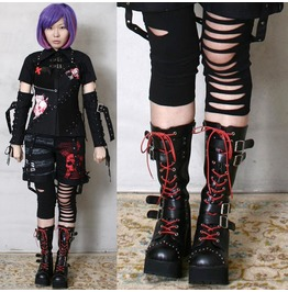 Gothic Punk Cosplay Steampunk Buckle Motorcycle Biker V Stud Heel Boots