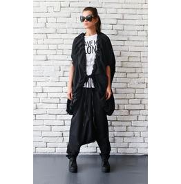 Loose Extravagant Vest/Maxi Black Tunic/Oversize Casual Cardigan