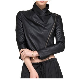 Cropped Leather Jacket Asymmetrical Zipper