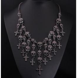 Crystal Skulls Crosses Statement Pendant Necklace