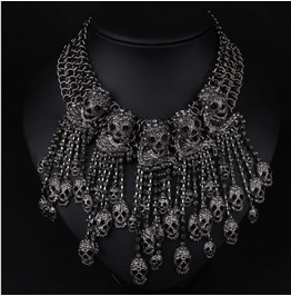 High Quality Punk Full Diamond Skull Multilayer Tassel Pirate Necklace