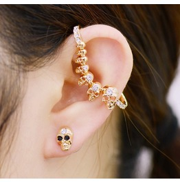 Punk Ab Section Skull Earrings Ear Hook Earrings