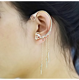 Fashion Halloween Tassels Skull Rivets Earrings Ear Hanging