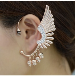 Exaggerated Ear Cuff Eagle Wings Skull Bones Punk Style Ear Headphones