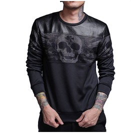 Skull Print Sweatshirt Faux Leather