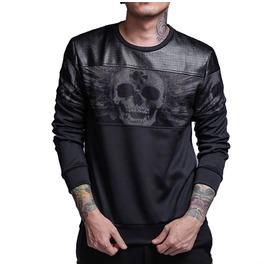 Skull Print Sweatshirt Faux Leather