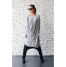 Light Grey Loose Tunic/Asymmetric Maxi Dress/Thumb Hole Sleeve Top