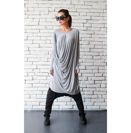 Light Grey Loose Tunic/Asymmetric Maxi Dress/Thumb Hole Sleeve Top
