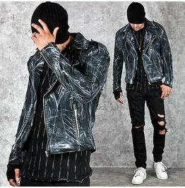 Painted Black Denim Slim Rider Jacket 208
