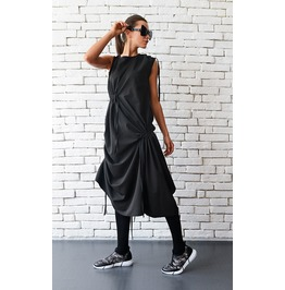 Extravagant Casual Loose Dress/Asymmetric Black Tunic Top/Loose Top